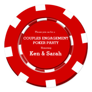 Red Poker Chip Heart Engagement Wedding Invitation