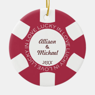 Red poker chip lucky in love couple photo vegas round ceramic ornament