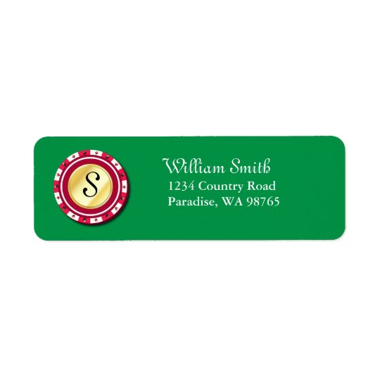 Red Poker Chip Return Address Label