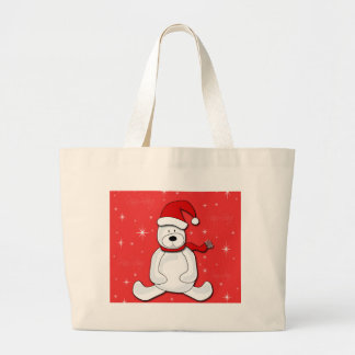 Red polar bear large tote bag