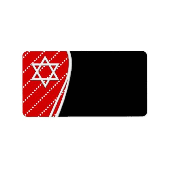 Red Polka Dot Black Star of David Label