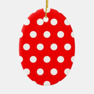 Red Polka Dot Ceramic Ornament