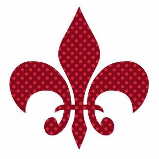 Red Polka Dot Fleur De Lis Photo Sculpture Button