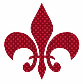 Red Polka Dot Fleur De Lis Photo Sculpture Ornament