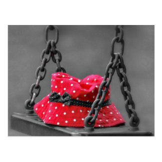 Red Polka Dot Hat Forgotten on a Swing Postcard