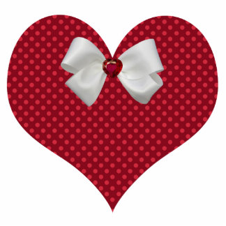 Red Polka Dot Heart Magnet Photo Sculpture Magnet