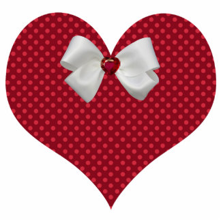 Red Polka Dot Heart Ornament Photo Sculpture Ornament