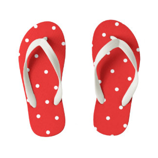 Red Polka Dot Kids Flip Flops