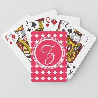 Red Polka Dot Monogram Playing Cards