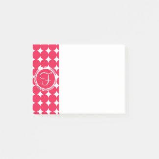Red Polka Dot Monogram Post-it Notes