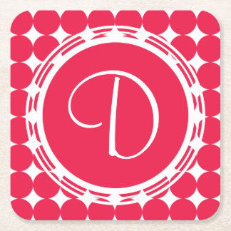 Red Polka Dot Monogram Square Paper Coaster