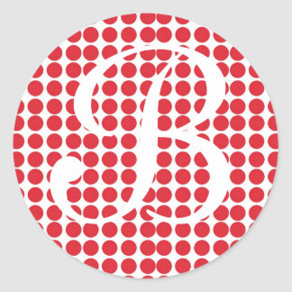Red Polka Dot Monogram Sticker