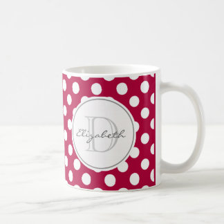 Red Polka Dot Monogrammed Mug