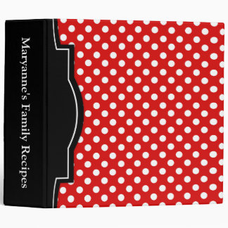 "Red Polka Dot personalized 2"" Recipe Binder"