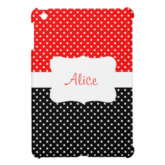Red Polka Dot Personalized iPad Mini Cover