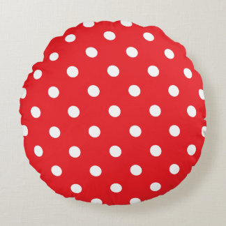 Red Polka Dot Round Pillow
