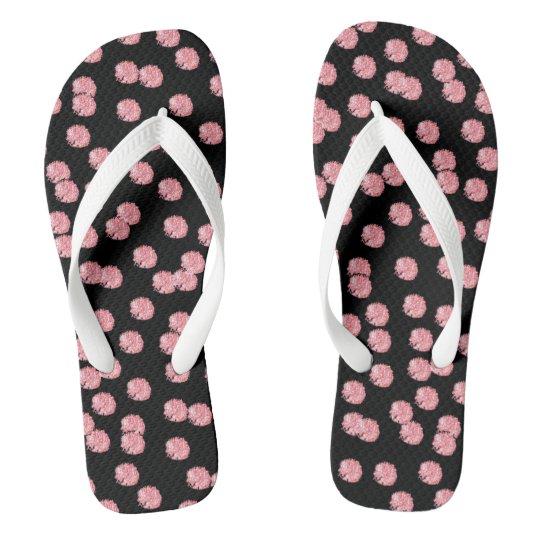 Red Polka Dots Adult Wide Straps Flip Flops