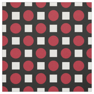 Red polka dots and white squares fabric