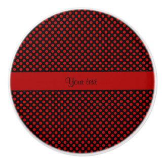 Red Polka Dots Ceramic Knob
