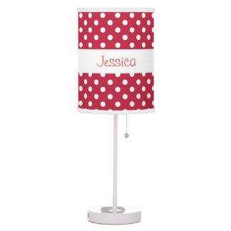 Red Polka Dots Custom Name V073 Table Lamp