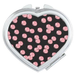 Red Polka Dots Heart Compact Mirror