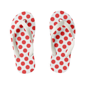 Red Polka Dots Kid's Flip Flops