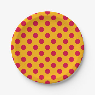 Red polka dots on yellow 7 inch paper plate