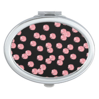 Red Polka Dots Oval Compact Mirror