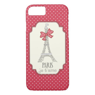 Red Polka Dots Paris Je t'aime Case-Mate iPhone Case