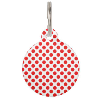 Red Polka Dots Pet ID Tag