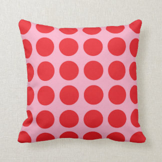Red Polka Dots Pink Throw Pillow
