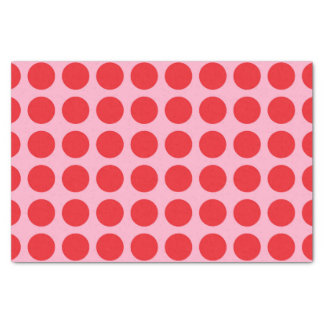 Red Polka Dots Pink Tissue Paper