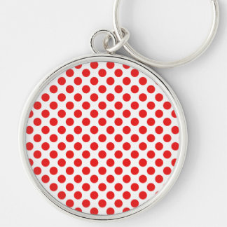 Red Polka Dots Silver-Colored Round Keychain