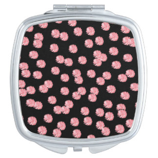 Red Polka Dots Square Compact Mirror