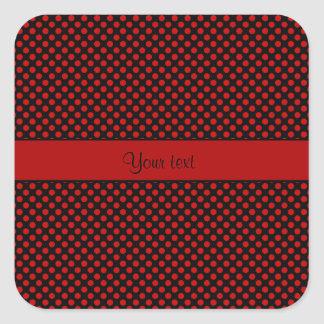 Red Polka Dots Square Sticker