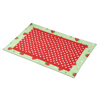 Red Polka dots & Strawberries on green background Placemat