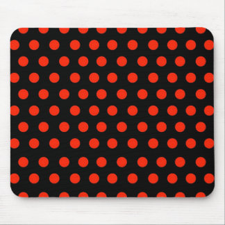 Red Polka Dots with black background Mouse Pad