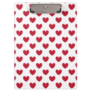 Red polka hearts on white clipboard