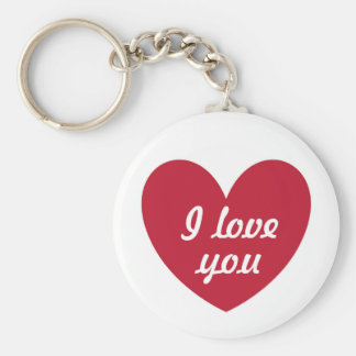 Red polka hearts on white keychain