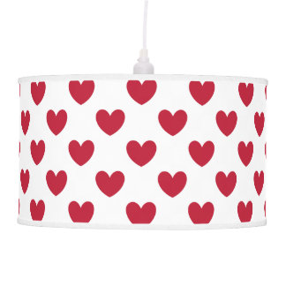 Red polka hearts on white pendant lamp