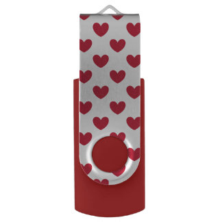 Red polka hearts on white USB flash drive