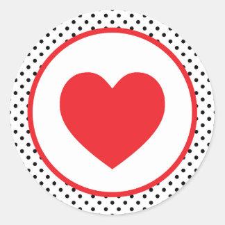 Red Polkadot Heart Valentine Classic Round Sticker
