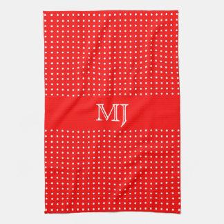 Red Polkadot Pattern-Monogram Kitchen Towel