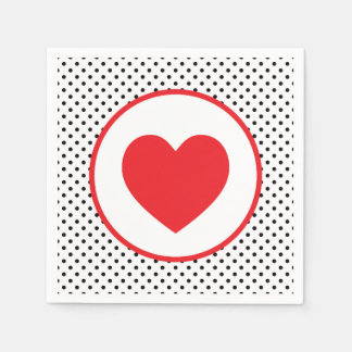 Red Polkadot Striped Heart Disposable Napkins