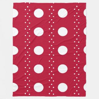 Red Polkadot Stripes Fleece Blanket