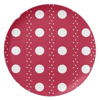 Red Polkadot Stripes Plate
