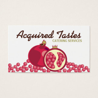 Red pomegranates seeds chef business cards