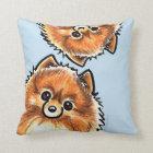Red Pomeranian Paws Up Throw Pillow