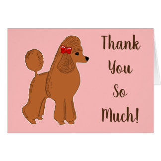 Red Poodle Blush Pink Thank You So Much Card