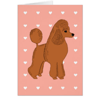 Red Poodle Peach Pink with Hearts Greeting Card